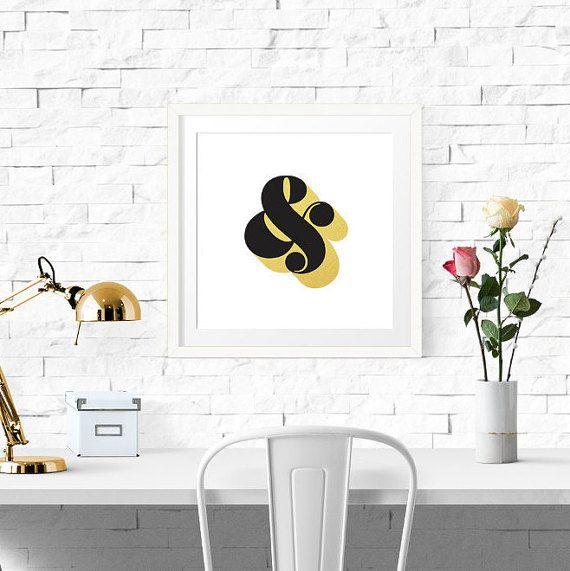 PRINTABLE - Typography Poster, Black Gold Decor, Ampersand Print ...