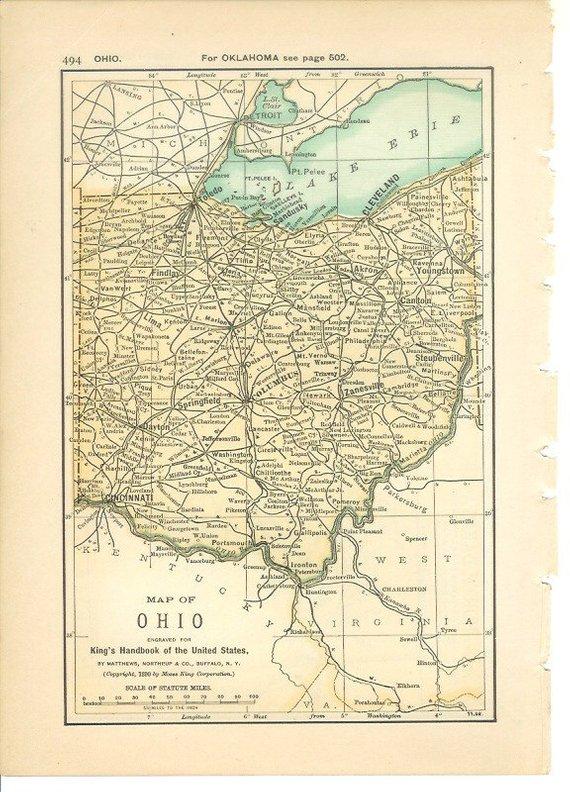 Antique Ohio Map.Map 1891 State Map Ohio North Dakota Vintage Antique Map Great