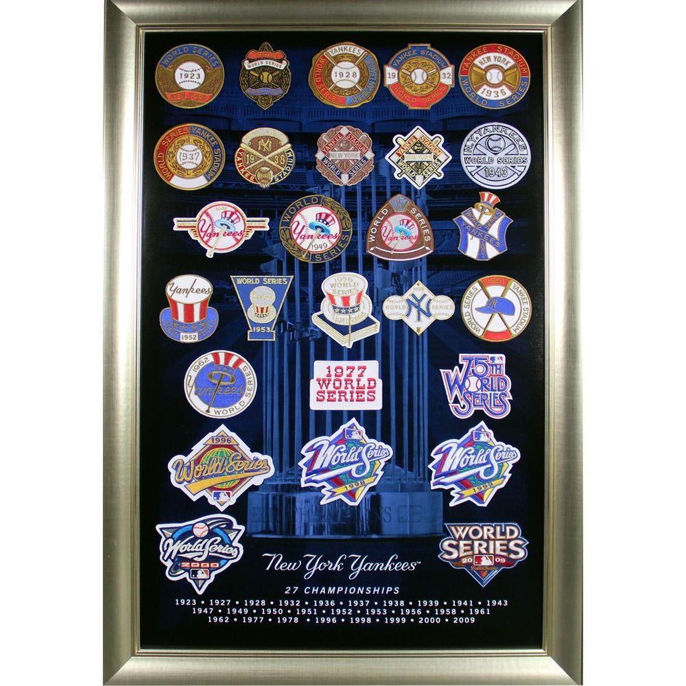 New York Yankees 27 World Series Titles Patch Collage Framed 20x32 Newyork Yankee Yankees Sports History Basebal New York Yankees World Series Yankees
