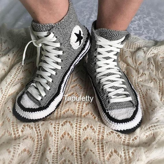 93b4091e502 Knitted Converse Socks with sole Men s converse slippers Knitted gift for  boyfriend Men s house shoe