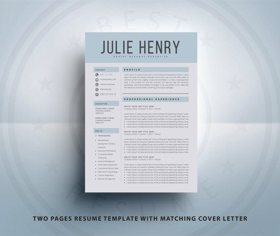 Modern Resume Template CV Template Cover Letter By BestResume