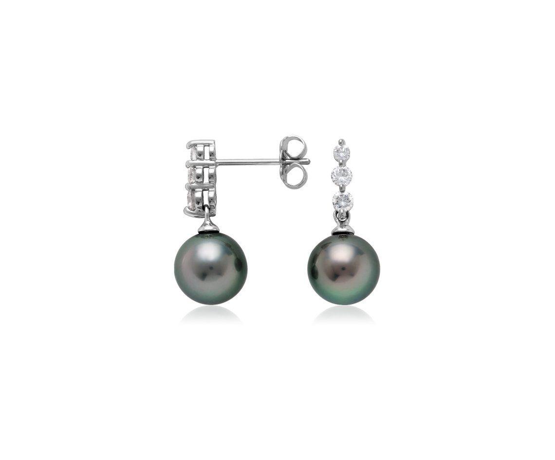 Blue Nile Tahitian Cultured Pearl Drop Earrings in 18k White Gold (8mm) LumaKWcDKg