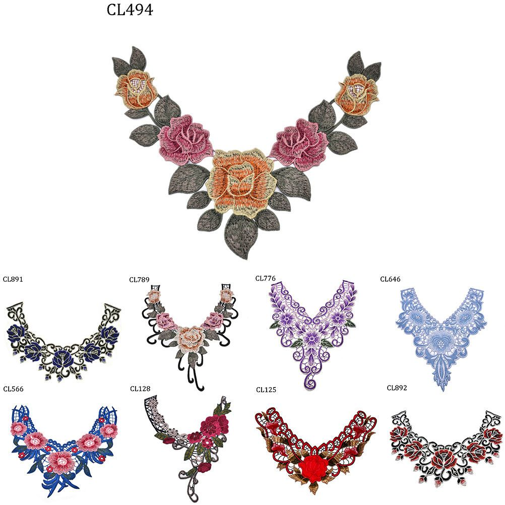 Lace Embroidered Venise Neckline Neck Collar Trim Clothes Sewing Applique PatSGS