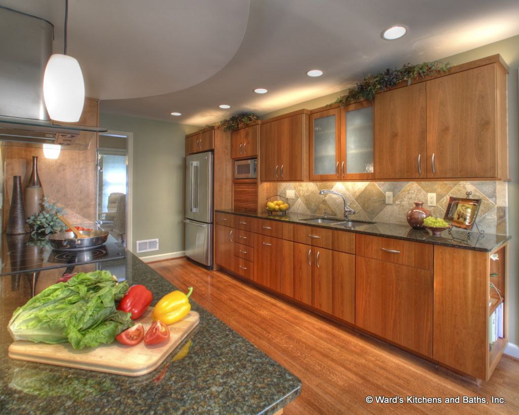 Cherry Kitchen Cabinets Wood Floors Granite Countertops