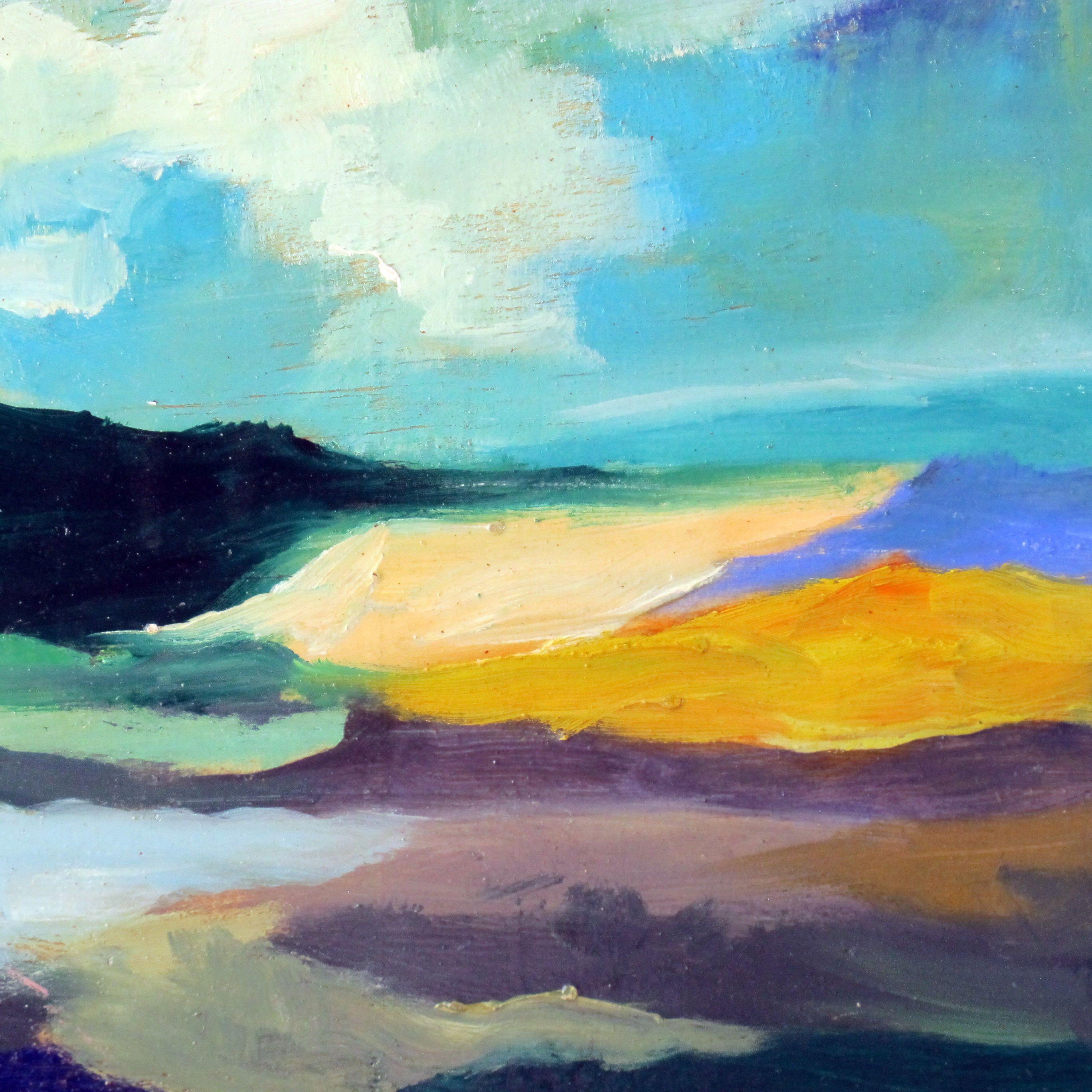 Wanderlust painting, original art, abstract landscape, cloud ...