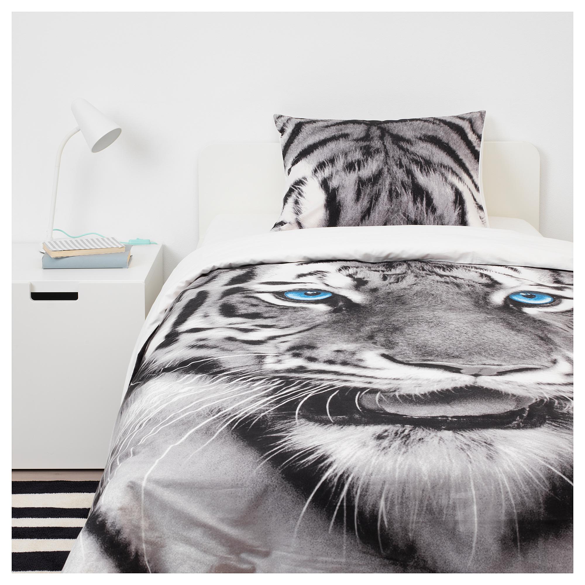 IKEA URSKOG Duvet cover and pillowcase s tiger gray