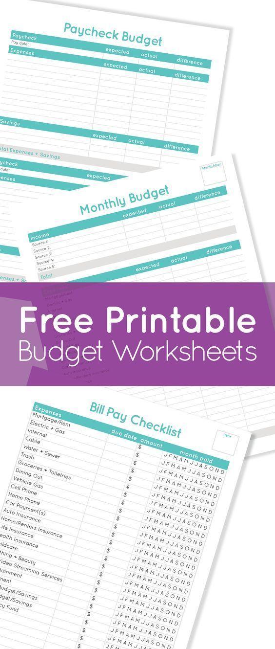 Free Budgeting Worksheets 2018 printables Pinterest Printable