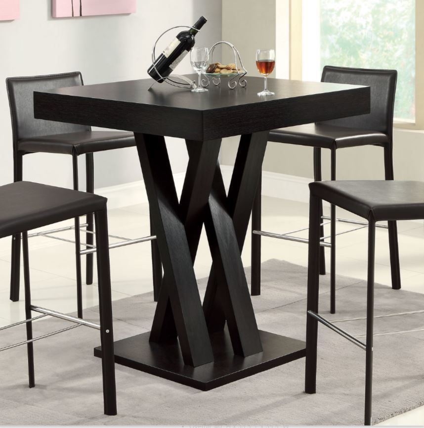 Counter height table only bar dining pub dark brownn