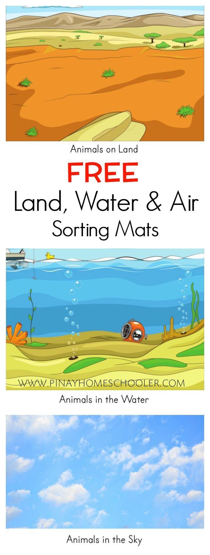 FREE Land Water and Air Sorting Mats Water animals