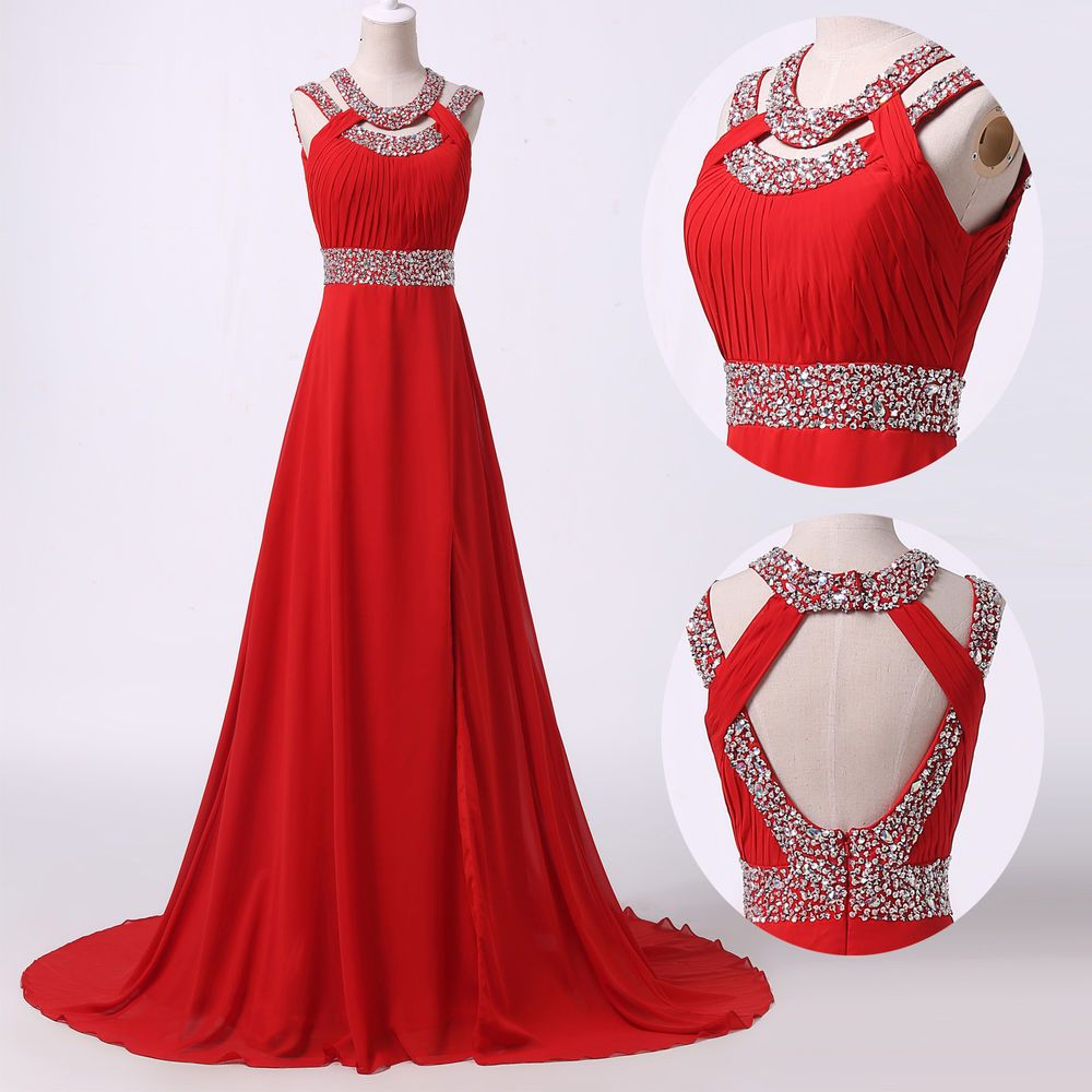 Long red dress for wedding  Luxury Red Sexy Wedding Chiffon Evening Bridesmaid Long Gown Prom
