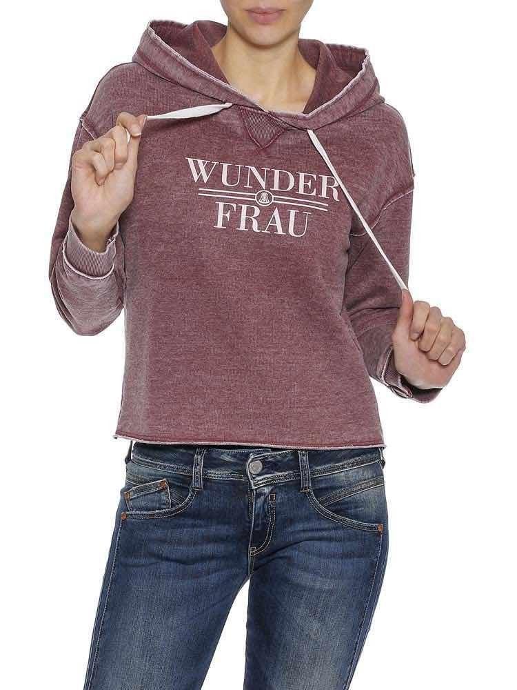 Herrlicher Damen Sweatshirt Winona Blaustoff Kapuzen Sweat Pullover Oversize Gra