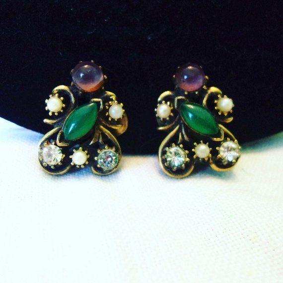 Florenza Earrings Green Cabochon Faux Pearl Glass