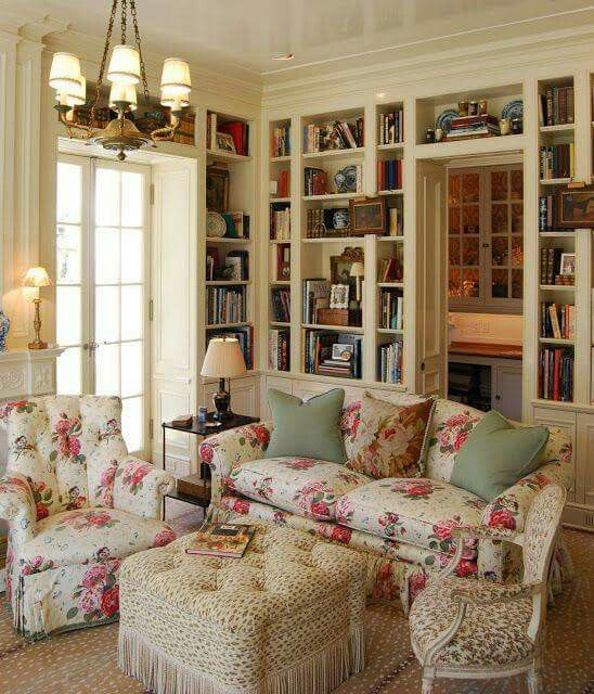 Rose Themed Living Room And Home Library English Country Style