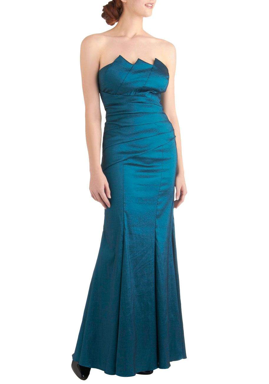 Mermaid for You Dress - Long, Blue, Solid, Cutout, Pleats, Formal ...