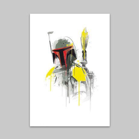 """Star Wars Watercolor Print - 18 x 24"""" - Bobba Fett - $48 ($35 on sale)"""