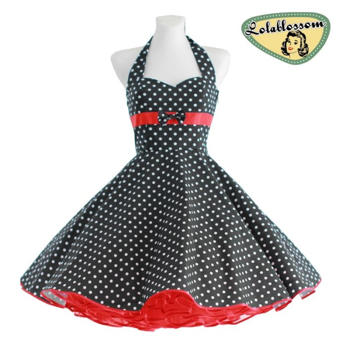 50er jahre petticoat kleid schwarz polka dots rockabilly. Black Bedroom Furniture Sets. Home Design Ideas