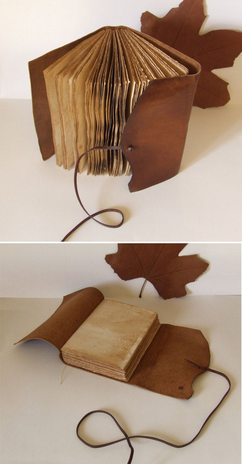 Rustic Leather Journal, antiqued brown ocher leather