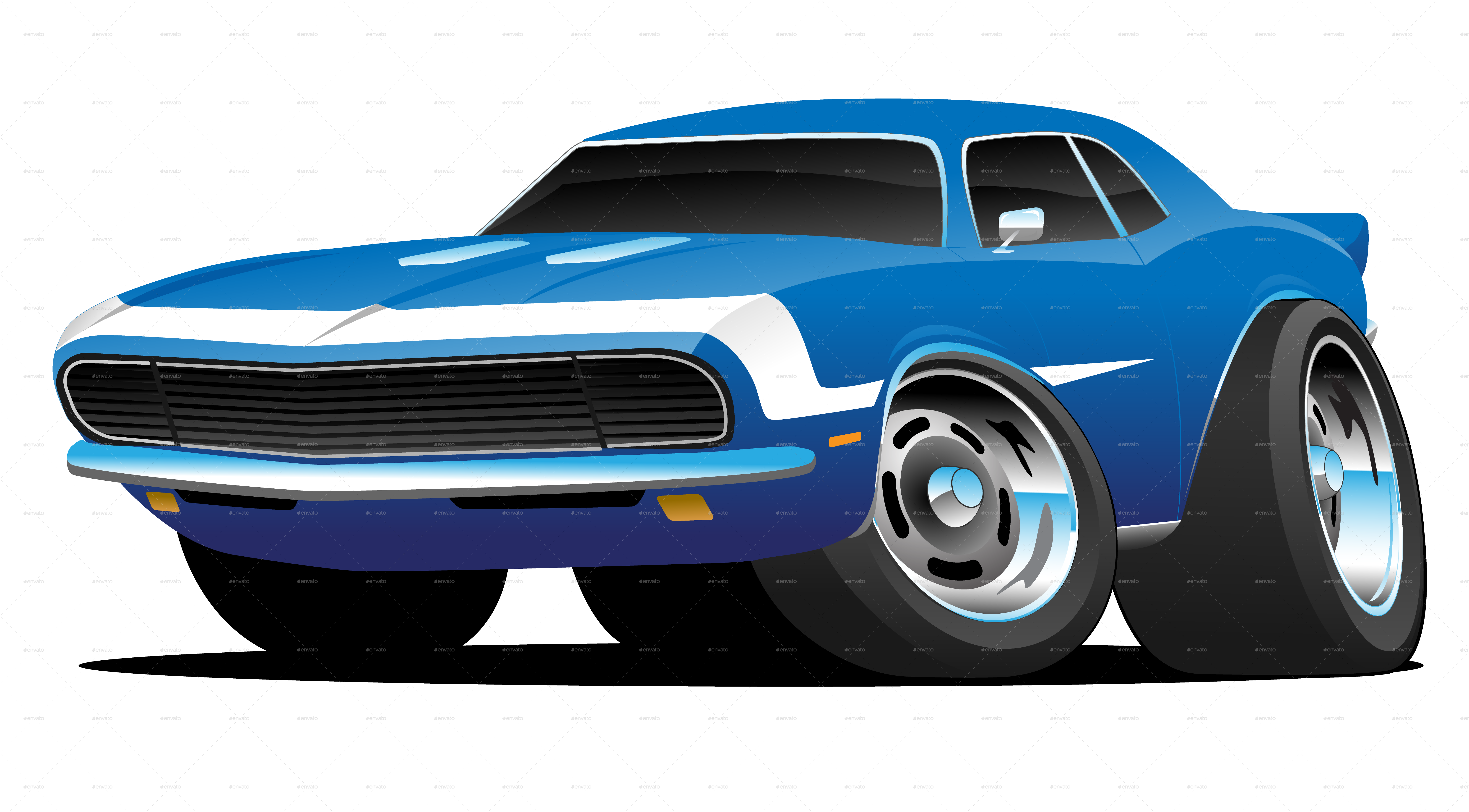 Classic Sixties Style American Muscle Car Cartoon Car Cartoon Hot Rods Cars Muscle Muscle Cars