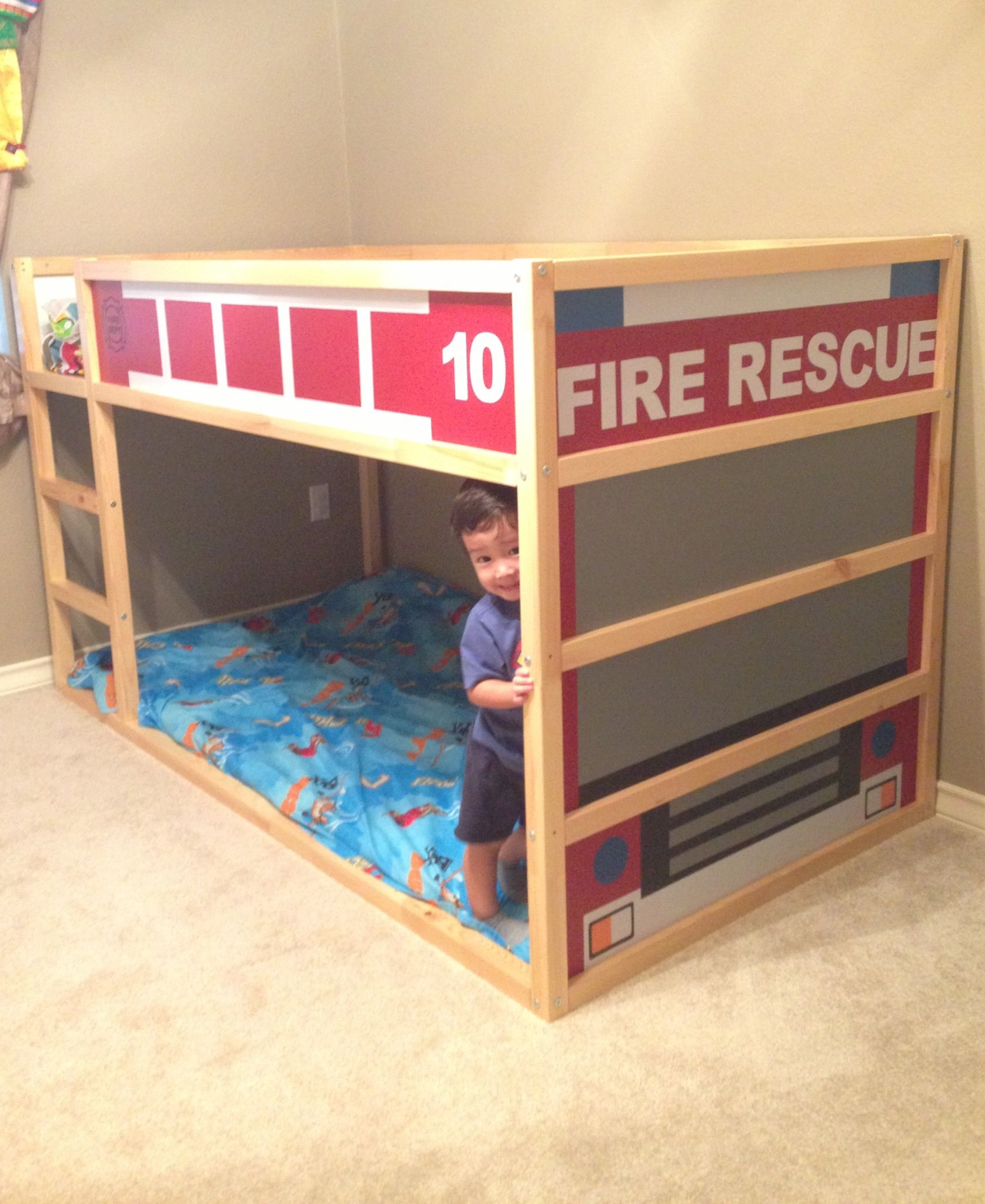 My Kids Ikea Kura Bed Turned Fire Truck With Vinyl And My