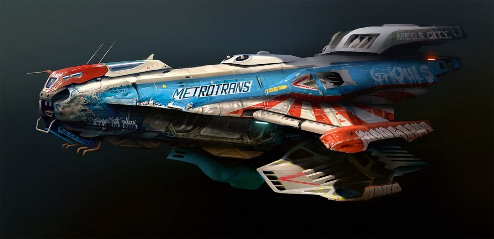 BONUS PIC - Alive For Art Inspiration | Artist interview w/pics! Rasmus Poulsen is an art director at Square Enix Montréal...Future Cyberpunk Concept Vehicle | City Transport Flying Car-Ship With Graffiti