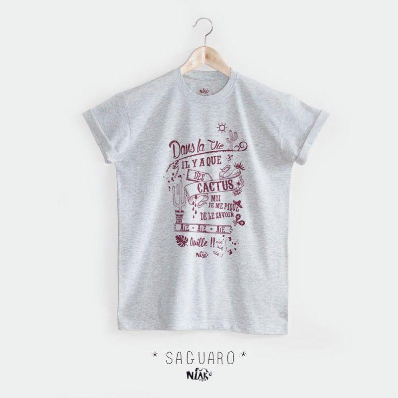 11ce509e633b5 T-shirt homme blanc chiné imprimé par Niak Original. dessin original  chanson Jacques Dutronc
