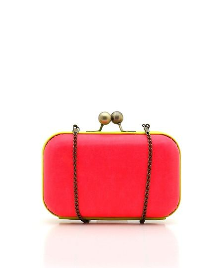 Neon Color-Blocked Structured Clutch - Neon Pink and Yellow  $34.50