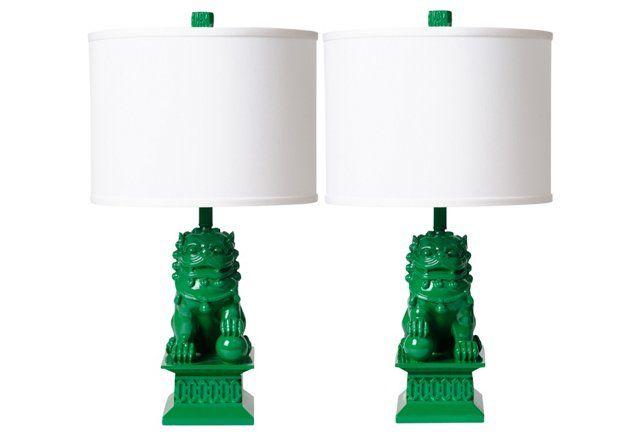 Kelly Green Foo Dog Table Lamp Pair Green Lamp Dog Lamp Green Lamp Base