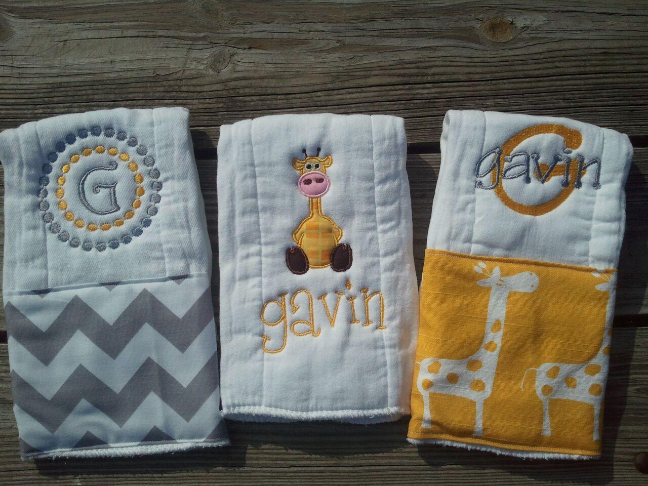 Personalized Baby Boy Burp Cloths Safari Giraffe Baby Gift