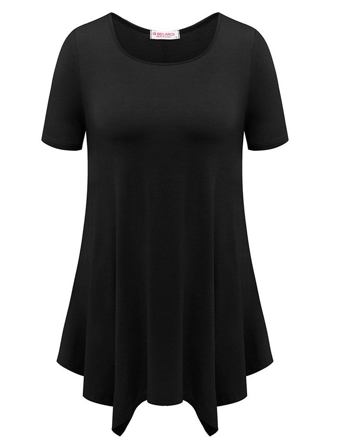 Belaroi womens basic solid loose fit short sleeve tunic t shirt at