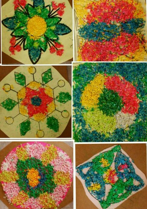 Indian Rangolis Made With Food Colored Rice And Simple