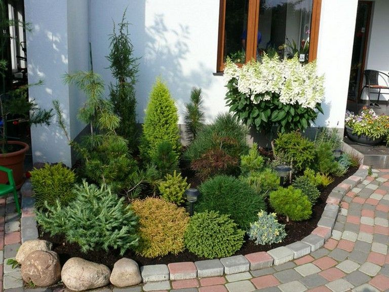 51 Smart Ideas To Make Evergreen Landscape Garden On Your Front Yard Page 30 Of 52 Evergreen Landscape Small Garden Conifers Walkway Landscaping