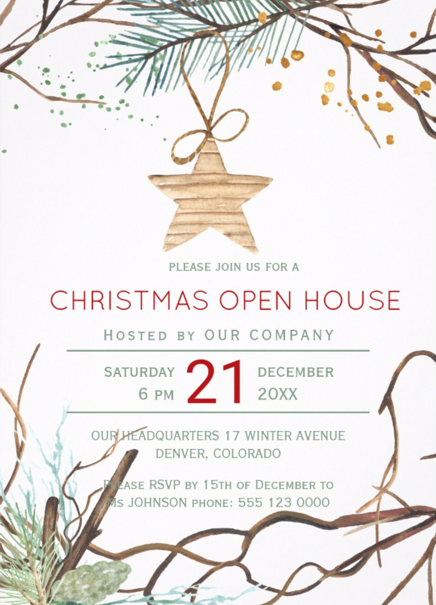 White House Christmas Open House 2020 Modern winter wood branches Christmas open house Invitation