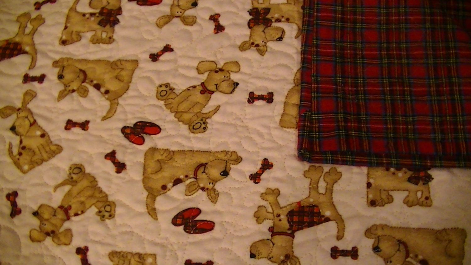 Whole Cloth Flannel Baby Quilt Puppy Dog Red Plaid - handmade quilted crib by TravisCreek on Etsy