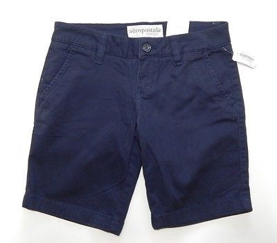 Aeropostale Stretch Women's Flat Navy Blue Bermuda, Walking Shorts ...