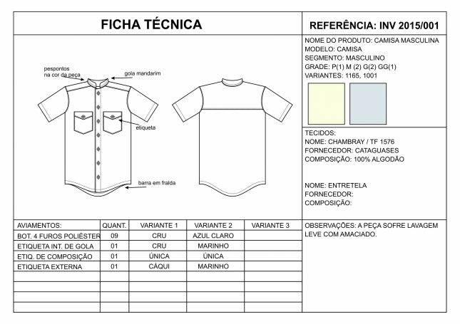 29d86fdb1 Ficha Técnica Camisa Masculina   Califórnia BR   Desenhos de moda ...