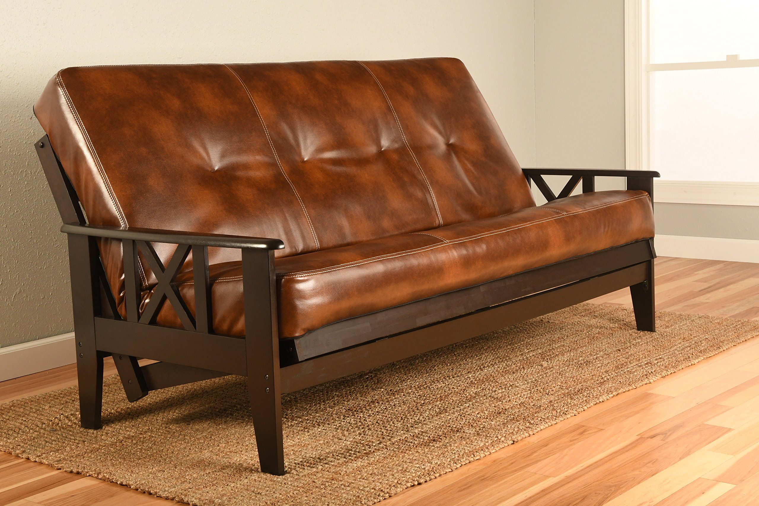 Montreal X Espresso Futon Frame W Quality 8 Inch Innerspring Mattress Sofa Bed Set Full Size Havana Leather Matt And Only