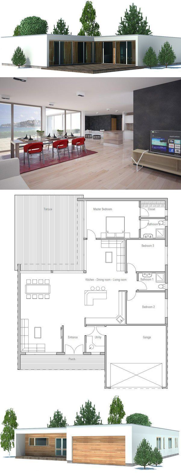 Modern house plan with double garage three bedrooms for Concept home com