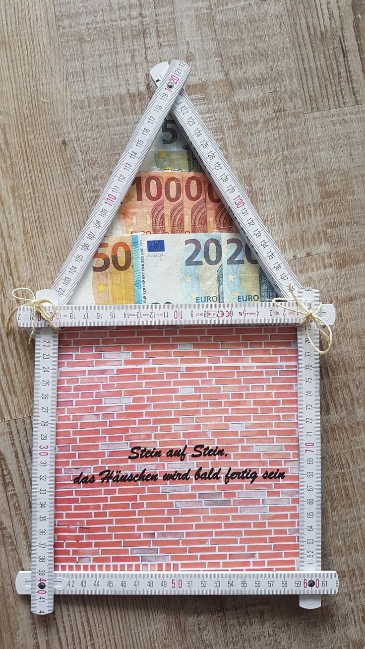 Geldgeschenk Geschenk Geld Haus Zollstock Mann Hausbau