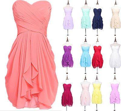 Strapless Short Bridesmaid Party Dresses Plus Prom Evening Gowns Ruched Chiffon