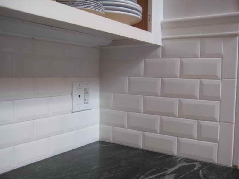 Fine White Beveled Subway Tile Backsplash R Inside Design Decorating