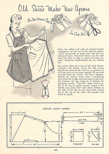 Apron from shirts | Apron, Patterns and Sewing patterns