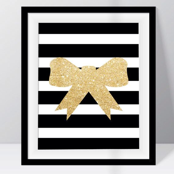 Gold and Black Bow Print, Gold sparkle, Wall Art, Home Decor ...