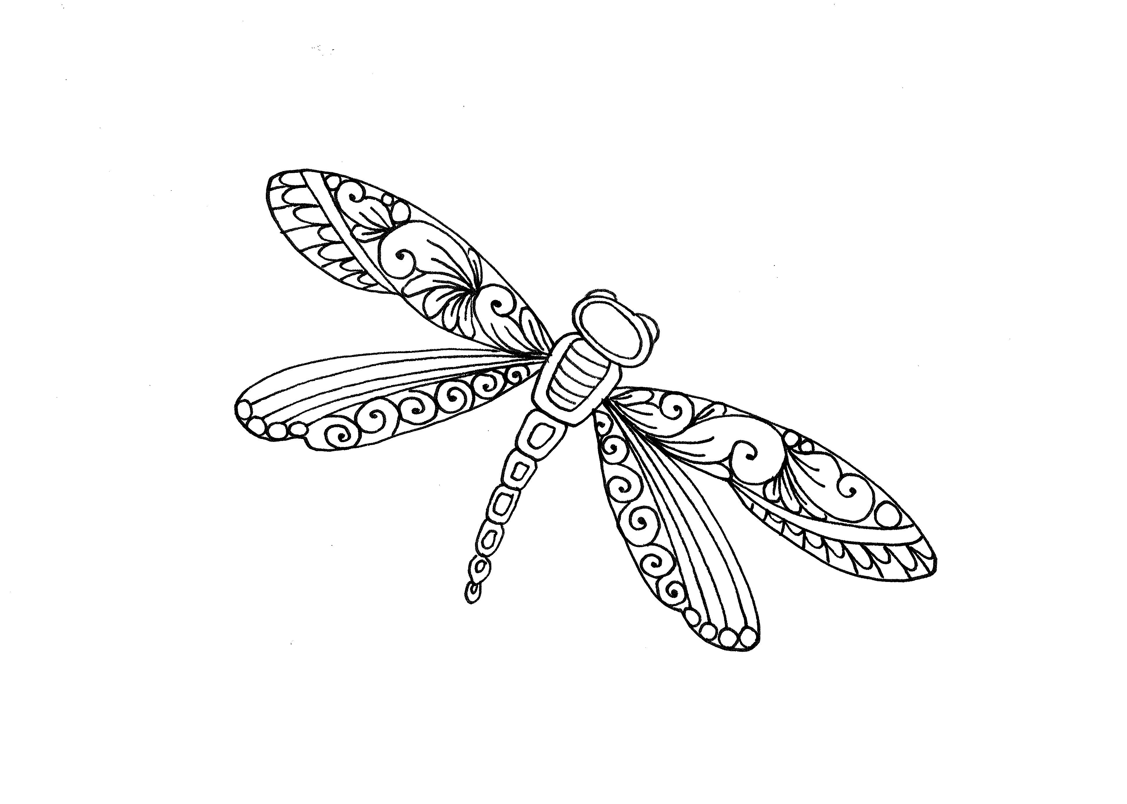 Dragonfly Coloring Page Illustrated By Marie Browning Coloring Pages Coloring Book Art Color