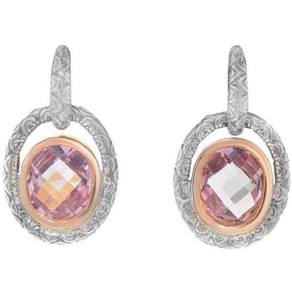 Pre Owned Charles Krypell 14k Rose Gold And Silver Pink Topaz Drop 230 Liked On Polyvore Featuring Jewelry Earrings Accessories