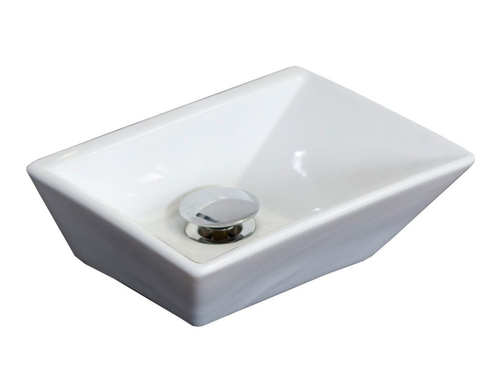 12 Inch W X 9 Inch D Rectangular Vessel Sink In White With Brushed Nickel Rectangular Vessel Sink Sink Wall Mount Faucet