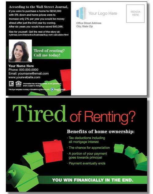 Tired Of Renting Postcard Real Estate Marketing Flyers Real Estate Marketing Postcards Real Estate Postcards