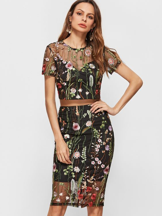 dae18e0ab Shop Black Botanical Embroidered Mesh Overlay Crop Top With Pencil Skirt  online. SheIn offers Black Botanical Embroidered Mesh Overlay Crop Top With  Pencil ...