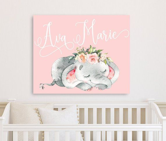 Pink Elephant Nursery Wall Art Canvas