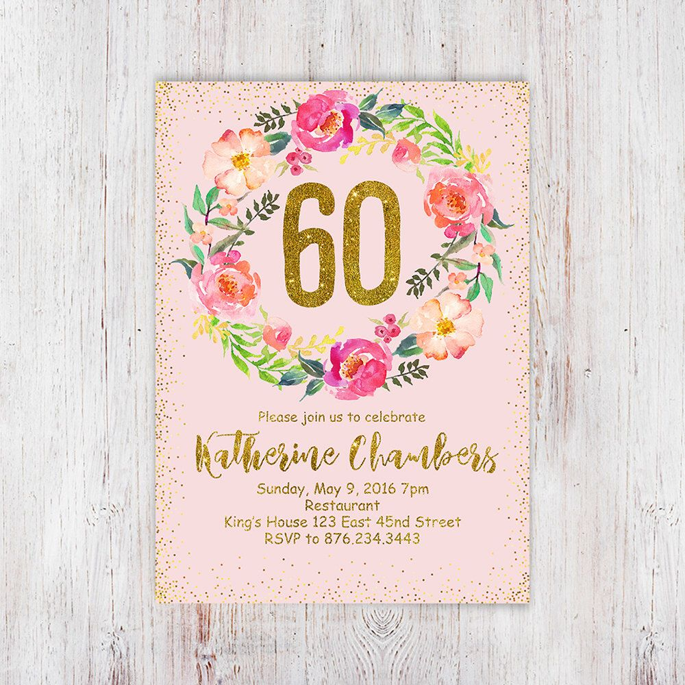 Womens 60th birthday party invite, 60th birthday invitation pink and ...