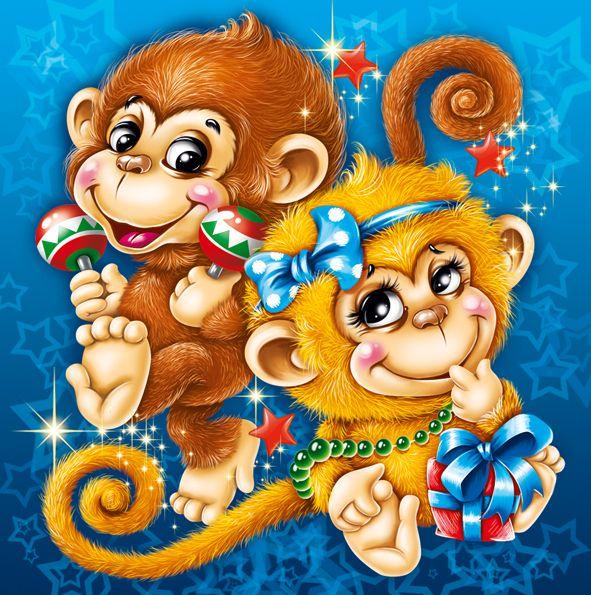 Новый год обезьяны открытка